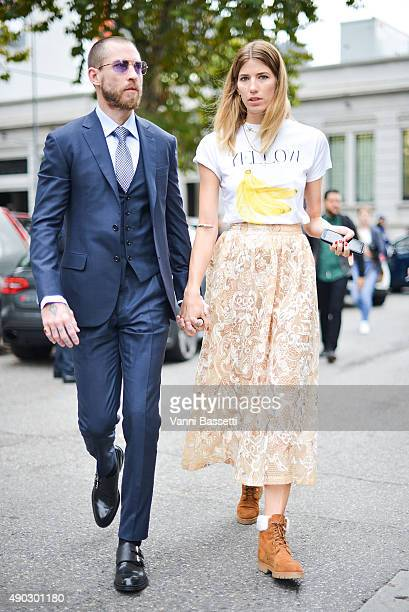 Justin O'Shea and Veronika Heilbrunner leave after the Marni show during the Milan Fashion Week Spring/Summer 16 on September 27 2015 in Milan Italy