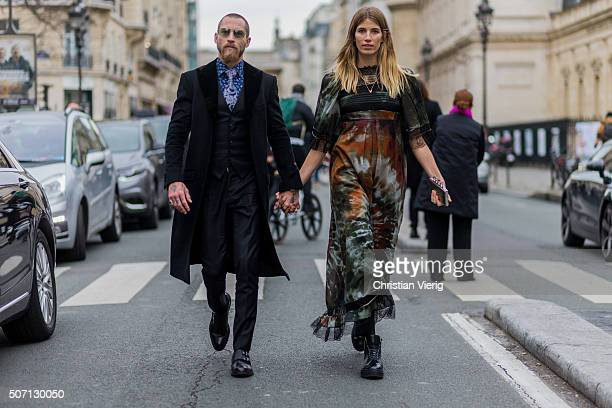 Justin O'Shea and Veronika Heilbrunner outside Jean Paul Gaultier during the Paris Fashion Week Haute Couture Spring/Summer 2016 on January 27 2016...