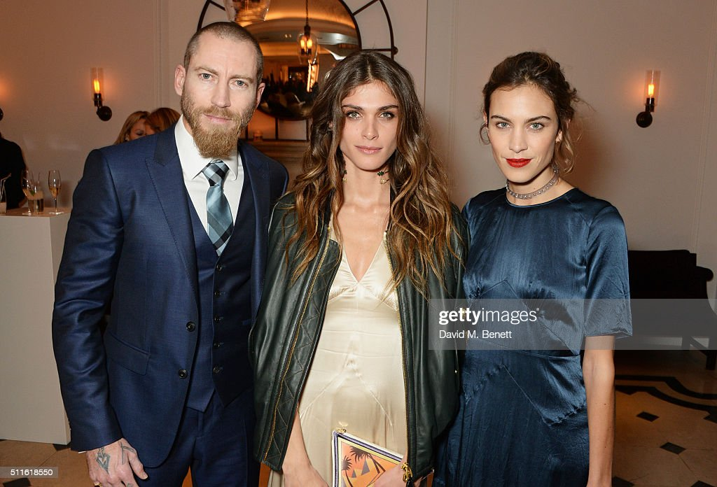 Justin O'Shea, Elisa Sednaoui-Dellal and Alexa Chung attend as mytheresa.com and Burberry celebrate the new MYT Woman at Thomas's on February 21, 2016 in London, England.