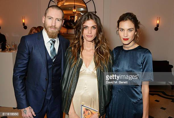 Justin O'Shea Elisa SednaouiDellal and Alexa Chung attend as mytheresacom and Burberry celebrate the new MYT Woman at Thomas's on February 21 2016 in...