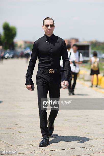 Justin O'Shea exits the Gucci show in Gucci poses on June 22 2015 in Milan Italy