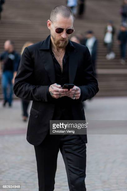 Justin O'Shea wearing a black skinny pants black jacket sunglasses outside Dion Lee during MercedesBenz Fashion Week Resort 18 Collections at Sydney...