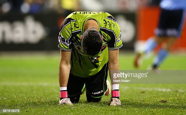 Justin Pasfield of the Wolves looks dejected after Sydneys third goal during the FFA Cup round of 32 match between the Wollongong Wolves and Sydney...