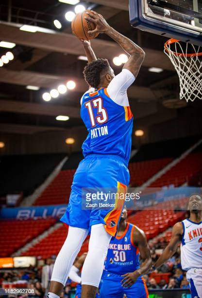 Justin Patton 13 of the Oklahoma City Blue dunks the ball against the Westchester Knicks during an NBA G-League game on November 16, 2019 at the Cox...
