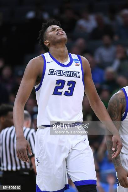 Justin Patton of the Creighton Bluejays reacts against the Rhode Island Rams during the first round of the 2017 NCAA Men's Basketball Tournament at...