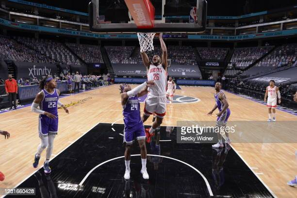 Justin Patton of the Houston Rockets dunks the ball during the game against the Sacramento Kings on March 11, 2021 at Golden 1 Center in Sacramento,...