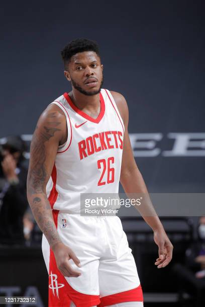 Justin Patton of the Houston Rockets looks on during the game against the Sacramento Kings on March 11, 2021 at Golden 1 Center in Sacramento,...