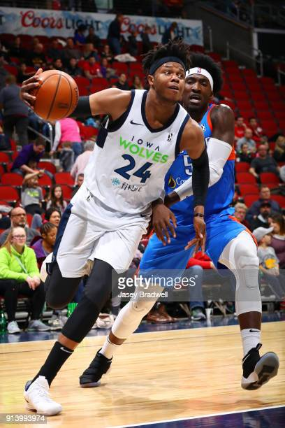 Justin Patton of the Iowa Wolves drives around Rashawn Thomas of the Oklahoma City Blue in an NBA GLeague game on February 3 2018 at the Wells Fargo...