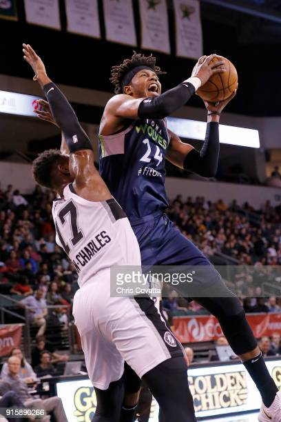 Justin Patton of the Iowa Wolves drives to the basket against the Austin Spurs during an NBA GLeague game at the HEB Center on February 8 2018 in...