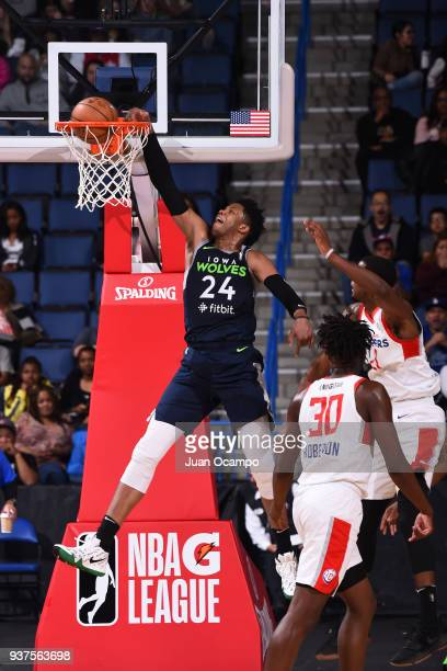 Justin Patton of the Iowa Wolves dunks the ball against the Agua Caliente Clippers of Ontario on March 24 2018 at Citizens Business Bank Arena in...