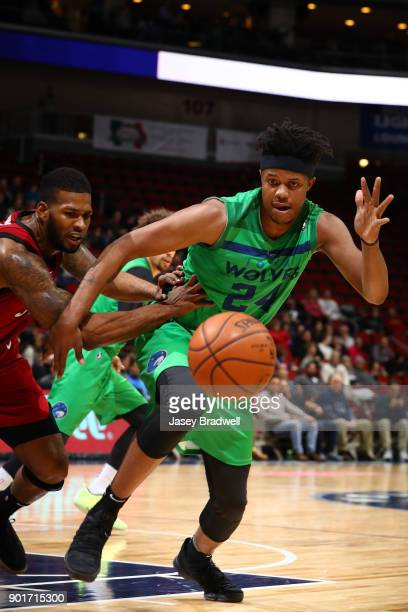 Justin Patton of the Iowa Wolves goes for a loose ball against the Sioux Falls Skyforce in an NBA GLeague game on January 5 2018 at the Wells Fargo...