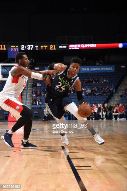 Justin Patton of the Iowa Wolves handles the ball against the Agua Caliente Clippers of Ontario on March 24 2018 at Citizens Business Bank Arena in...