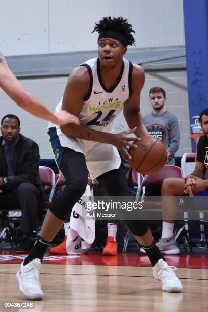 Justin Patton of the Iowa Wolves handles the ball against the Grand Rapids Drive NBA G League Showcase Game 20 between the Grand Rapids Drive and the...