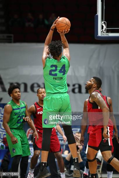 Justin Patton of the Iowa Wolves shoots a jump shot against the Sioux Falls Skyforce in an NBA GLeague game on January 5 2018 at the Wells Fargo...