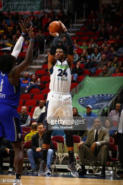 Justin Patton of the Iowa Wolves shoots a jump shot over Brandon Ashley of the Texas Legends in an NBA GLeague game on January 27 2018 at the Wells...