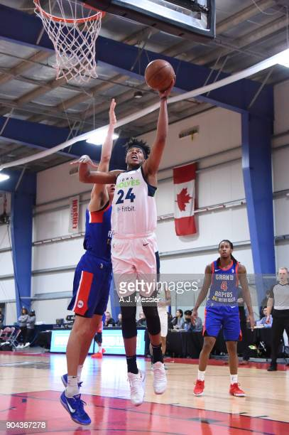 Justin Patton of the Iowa Wolves shoots the ball against the Grand Rapids Drive NBA G League Showcase Game 20 between the Grand Rapids Drive and the...