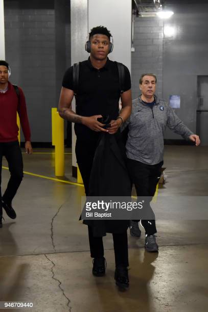 Justin Patton of the Minnesota Timberwolves arrives before the game against the Houston Rockets in Game One of Round One of the 2018 NBA Playoffs on...