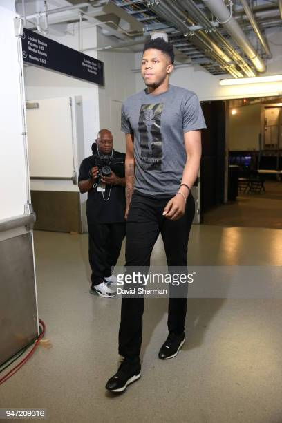 Justin Patton of the Minnesota Timberwolves arrives before the game against the Denver Nuggets on April 11 2018 at Target Center in Minneapolis...