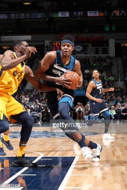Justin Patton of the Minnesota Timberwolves handles the ball against the Utah Jazz on April 1 2018 at Target Center in Minneapolis Minnesota NOTE TO...