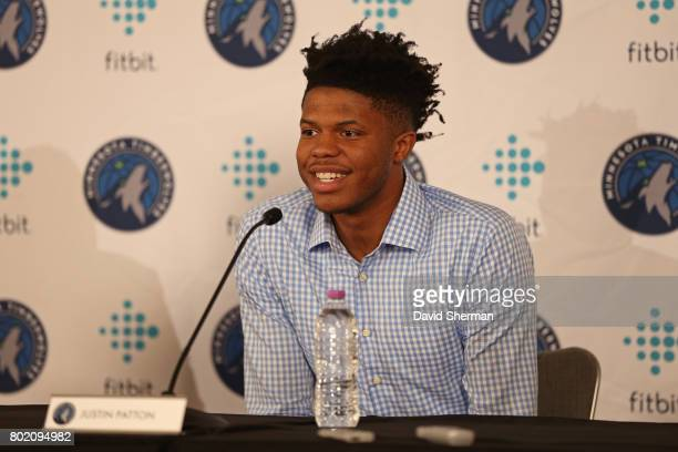 Justin Patton of the Minnesota Timberwolves is introduced to the media by head coach Tom Thibodeau and GM Scott Layden on June 27 2017 at the...