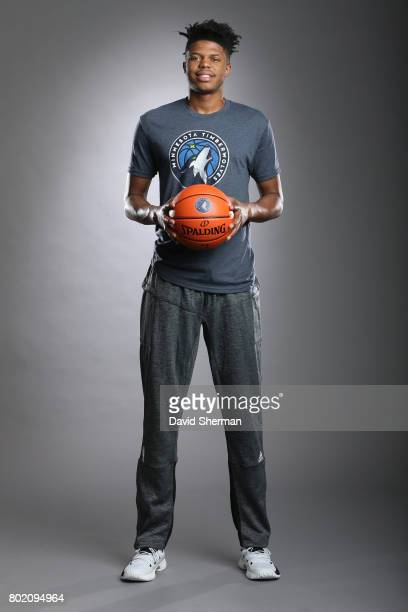 Justin Patton of the Minnesota Timberwolves poses for portraits on June 27 2017 at the Minnesota Timberwolves and Lynx Courts at Mayo Clinic Square...