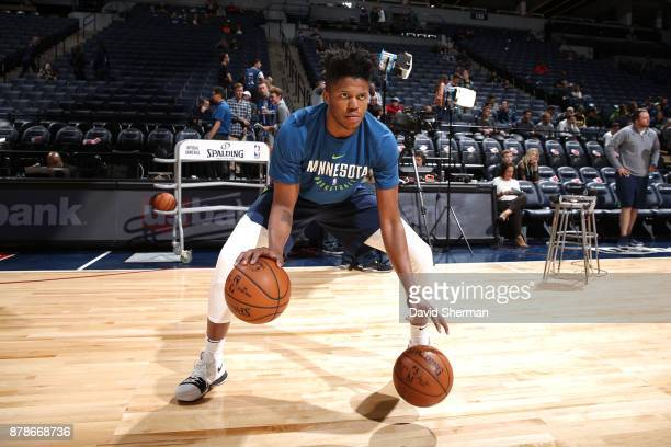 Justin Patton of the Minnesota Timberwolves warms up before the game against the Miami Heat on November 24 2017 at Target Center in Minneapolis...