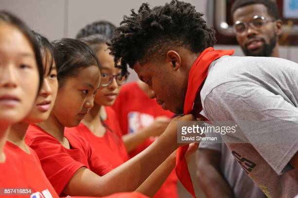 Justin Patton of the Minnesota Timberwovles interacts with the kids during a NBA Cares event as part of the 2017 Global Games China on October 4 2017...