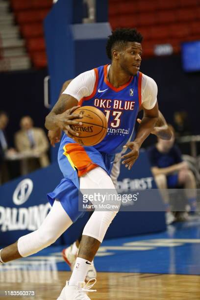Justin Patton of the Oklahoma City Blue dribbles the ball against the Rio Grande Valley Vipers during a NBA G-League game on November 19, 2019 at the...