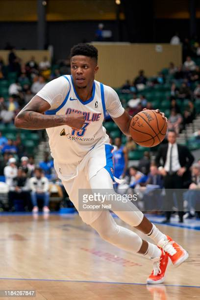 Justin Patton of the Oklahoma City Blue drives to the basket during an NBA G-League game against the Texas Legends on November 23, 2019 at the...