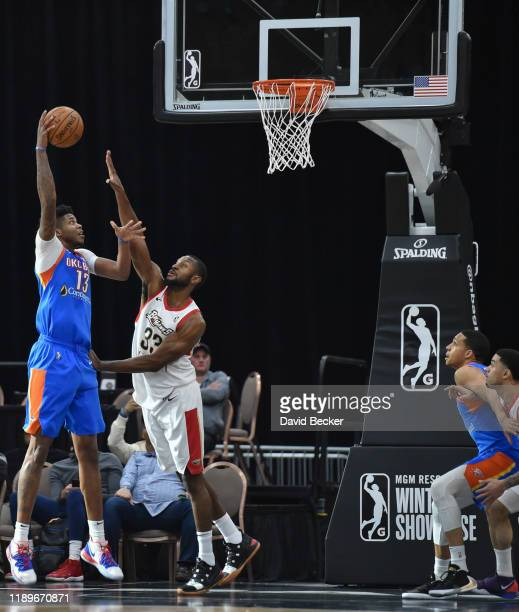 Justin Patton of the Oklahoma City Blue goes to the basket against the Erie BayHawks during the NBA G League Winter Showcase at Mandalay Bay Events...