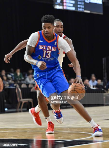Justin Patton of the Oklahoma City Blue moves the ball against the Erie BayHawks during the NBA G League Winter Showcase at Mandalay Bay Events...