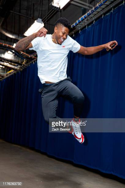 Justin Patton of the Oklahoma City Thunder arrives during a pre-season game against the Memphis Grizzlies on October 16, 2019 at Chesapeake Energy...