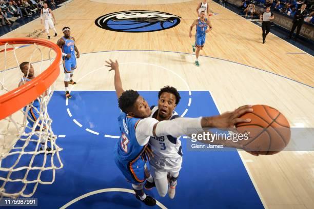 Justin Patton of the Oklahoma City Thunder blocks Antonius Cleveland of the Dallas Mavericks during a pre-season game on October 14, 2019 at the...