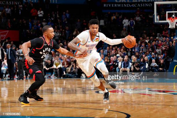 Justin Patton of the Oklahoma City Thunder handles the ball during the game against the Toronto Raptors on January 15, 2020 at Chesapeake Energy...