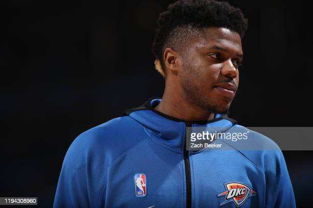 Justin Patton of the Oklahoma City Thunder looks on during the game against the Miami Heat on January 17, 2020 at Chesapeake Energy Arena in Oklahoma...