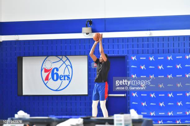 Justin Patton of the Philadelphia 76ers shoots around during a practice on December 11 2018 at The Philadelphia 76ers Practice Facility in Camden New...