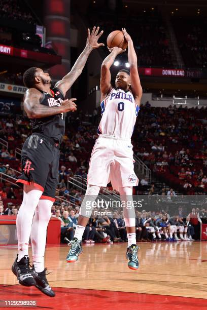 Justin Patton of the Philadelphia 76ers shoots the ball against the Houston Rockets on March 8 2019 at the Toyota Center in Houston Texas NOTE TO...
