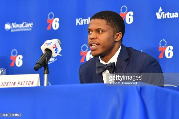 Justin Patton of the Philadelphia 76ers speaks to the media during an introductory press conference at the 76ers Training Complex in Camden New...
