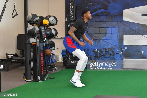 Justin Patton of the Philadelphia 76ers works out in the weight room during a practice on December 11 2018 at The Philadelphia 76ers Practice...