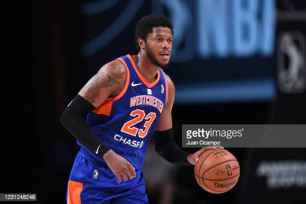 Justin Patton of the Westchester Knicks handles the ball against Team Ignite on February 18, 2021 at AdventHealth Arena in Orlando, Florida. NOTE TO...