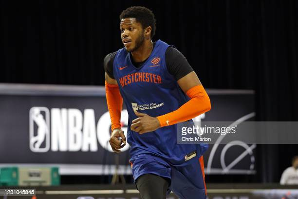 Justin Patton of the Westchester Knicks runs up court during practice on February 7, 2021 at AdventHealth Arena in Orlando, Florida. NOTE TO USER:...