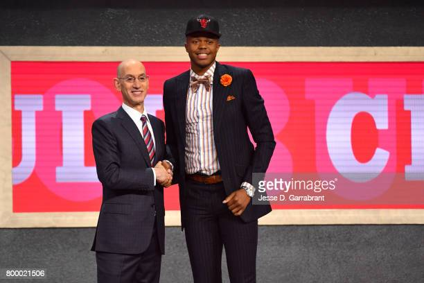 Justin Patton smiles with Adam Silver after being the 16th overall pick by the Chicago Bulls at the 2017 NBA Draft on June 22, 2017 at Barclays...