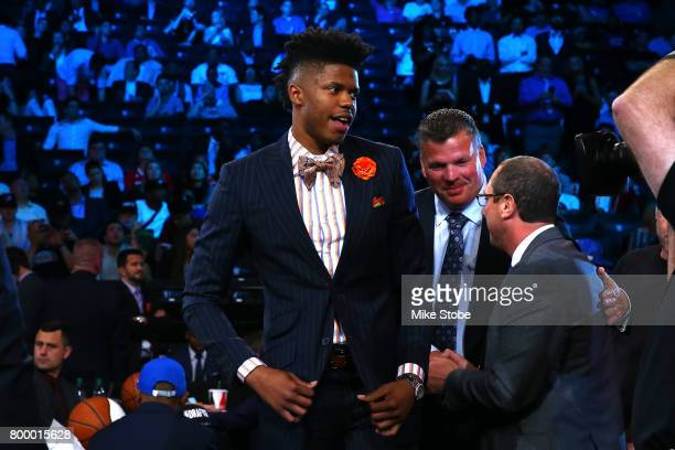 Justin Patton walks to stage after being drafted 16th overall by the Chicago Bulls during the first round of the 2017 NBA Draft at Barclays Center on...