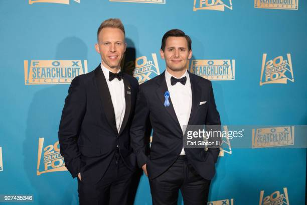 Justin Paul and Benj Pasek attend Fox Searchlight And 20th Century Fox Host Oscars PostParty on March 4 2018 in Los Angeles California
