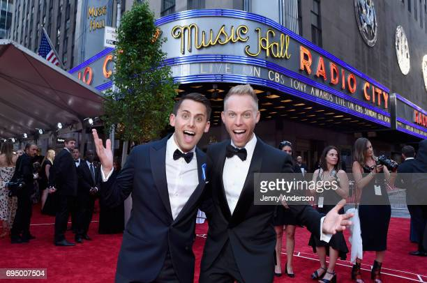 Justin Paul and Benj Pasek attend the 2017 Tony Awards at Radio City Music Hall on June 11 2017 in New York City