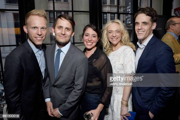 Justin Paul Benj Pasek Rachel Chavkin Rachel Bay Jones and Steven Levenson attend Designed To Celebrate A Toast To The 2017 Tony Awards Creative Arts...