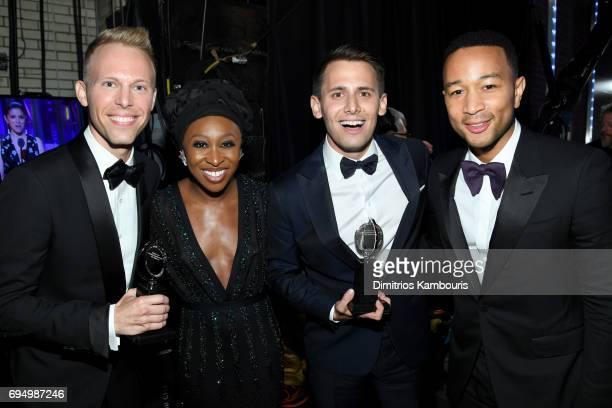 Justin Paul, Cynthia Erivo, Benj Pasek and John Legend pose backstage at the 2017 Tony Awards at Radio City Music Hall on June 11, 2017 in New York...