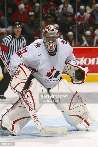 Justin Pogge of Team Canada looks on against Team Russia during the gold medal game at the World Junior Hockey Championships at General Motors Place...