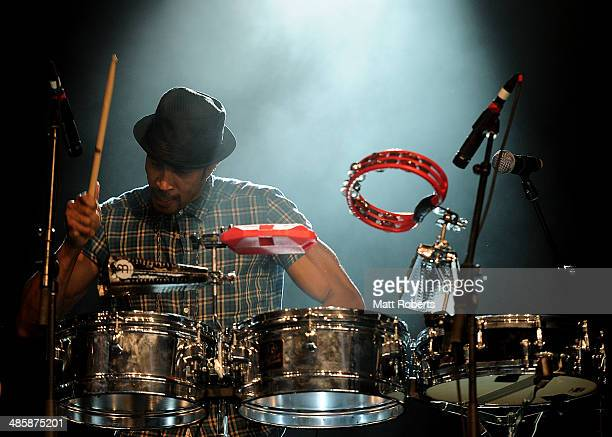 Justin Poree of Ozomatli performs live for fans at the 2014 Byron Bay Bluesfest on April 21 2014 in Byron Bay Australia