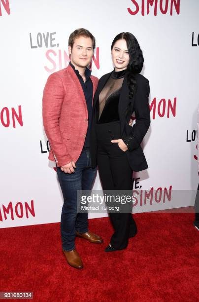 Justin Prentice and guest attend a special screening of 20th Century Fox's 'Love Simon' at Westfield Century City on March 13 2018 in Los Angeles...